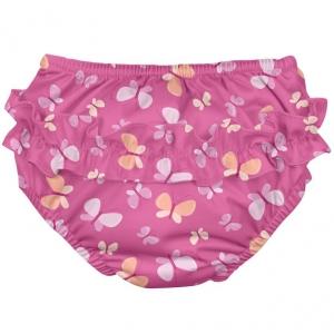 pañal de baño con volantes - rosa mariposas