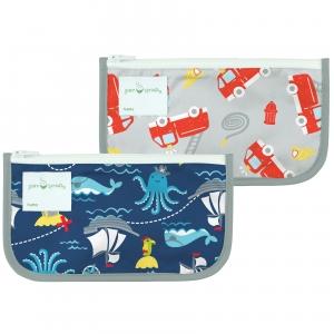 2 bolsas de bocadillos reutilizable - Piratas & Camiones de Bomberos